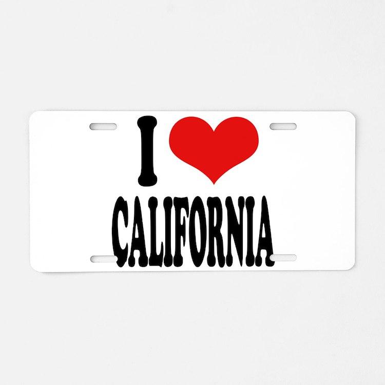 I Love California Aluminum License Plate