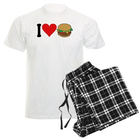 I Love Hamburgers (design) Men's Light Pajamas