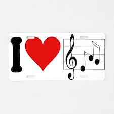 I Love Music (design) Aluminum License Plate