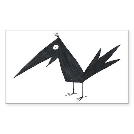 Cute Crow Sticker (Rectangle)