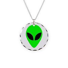 Alien Head Necklace Circle Charm