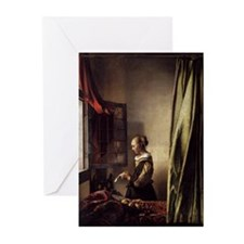 Girl Reading a Letter at an O Greeting Cards (Pk o