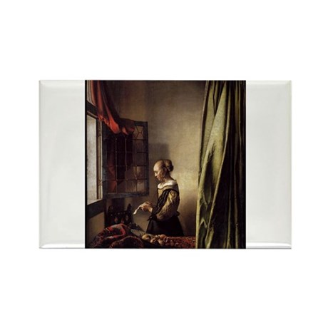 Girl Reading a Letter at an O Rectangle Magnet (10