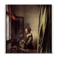 Girl Reading a Letter at an O Tile Coaster