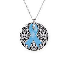 Damask Lt Blue Ribbon Necklace Circle Charm