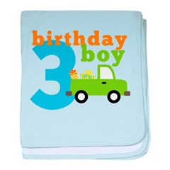 Truck Birthday Boy 3 baby blanket