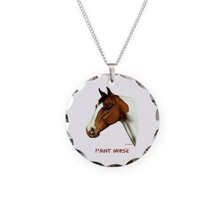 Paint Horse Necklace Circle Charm