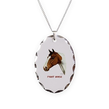 Paint Horse Necklace Oval Charm