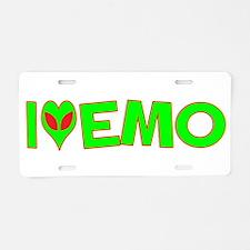I Love-Alien Emo Aluminum License Plate