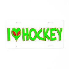 I Love-Alien Hockey Aluminum License Plate