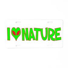 I Love-Alien Nature Aluminum License Plate