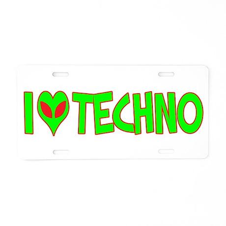 I Love-Alien Techno Aluminum License Plate