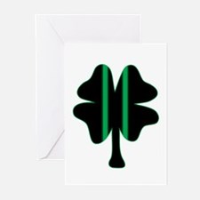 Green & Black Racing Clover Greeting Cards (Pk of