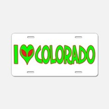 I Love-Alien Colorado Aluminum License Plate