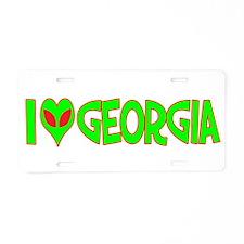 I Love-Alien Georgia Aluminum License Plate