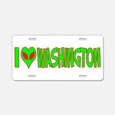 I Love-Alien Washington Aluminum License Plate