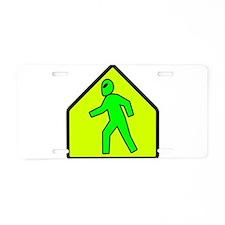 Alien Crossing Aluminum License Plate