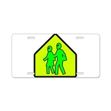 Alien School Xing Aluminum License Plate