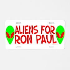 Aliens For Ron Paul Aluminum License Plate