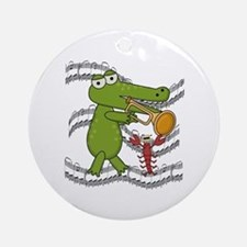 Crocodile With Trumpet Ornament (Round)