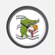 Crocodile With Trumpet Wall Clock