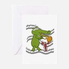 Crocodile With Trumpet Greeting Cards (Pk of 10)
