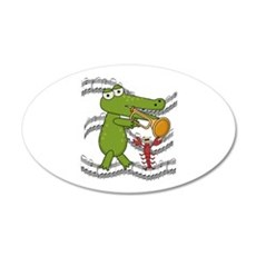 Crocodile With Trumpet 22x14 Oval Wall Peel