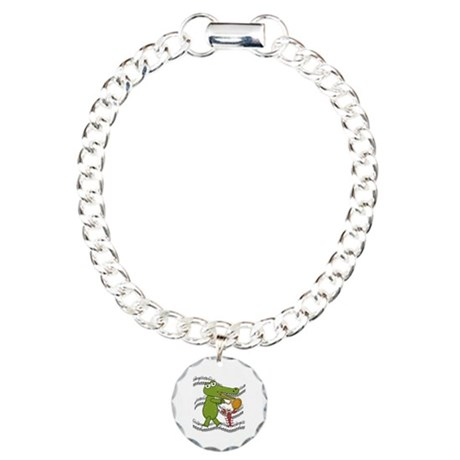 Crocodile With Trumpet Charm Bracelet, One Charm