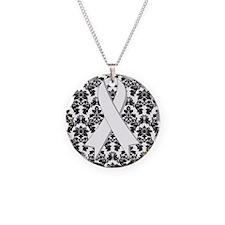 Damask White Ribbon Necklace