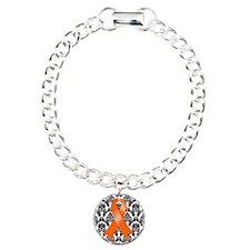 Damask Orange Ribbon Charm Bracelet, One Charm