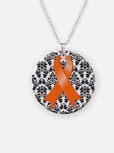 Damask Orange Ribbon Necklace
