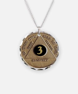 3 YEAR COIN Necklace Circle Charm