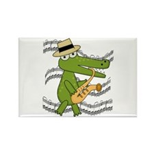 Crocodile With Saxophone Rectangle Magnet (10 pack