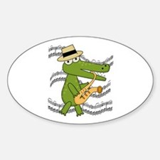 Crocodile With Saxophone Decal