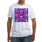Happy Easter Eggs Mosaic Blue Fitted T-Shirt