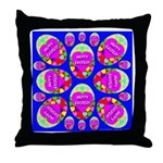 Happy Easter Eggs Mosaic Blue Throw Pillow