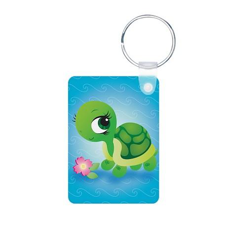 Toshi the Turtle Aluminum Photo Keychain