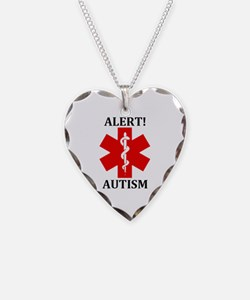 Autism Medical Alert Necklace Heart Charm