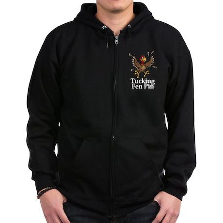 Tucking Fen Pin Logo 14 Zip Hoodie (dark) Design F