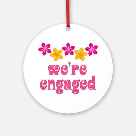 Tropical Engagement Announcement Ornament (Round)