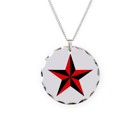 Nautical Star Necklace Circle Charm