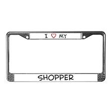 I Love Shopper License Plate Frame