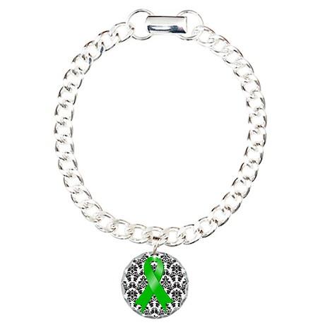 Damask Green Ribbon Charm Bracelet, One Charm