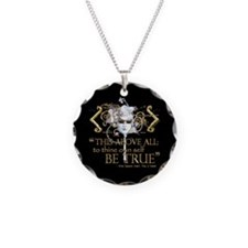 """Hamlet """"Be True"""" Quote Necklace Circle Charm"""