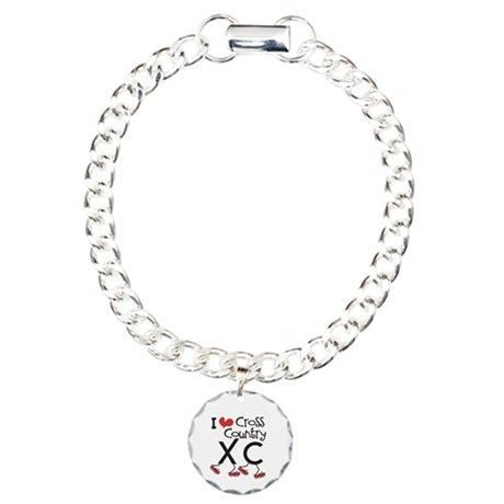 I heart Cross Country Running Charm Bracelet, One