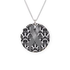 Damask Gray Ribbon Necklace