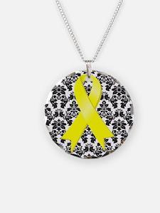 Damask Yellow Ribbon Necklace