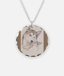 Siberian Husky Necklace Circle Charm