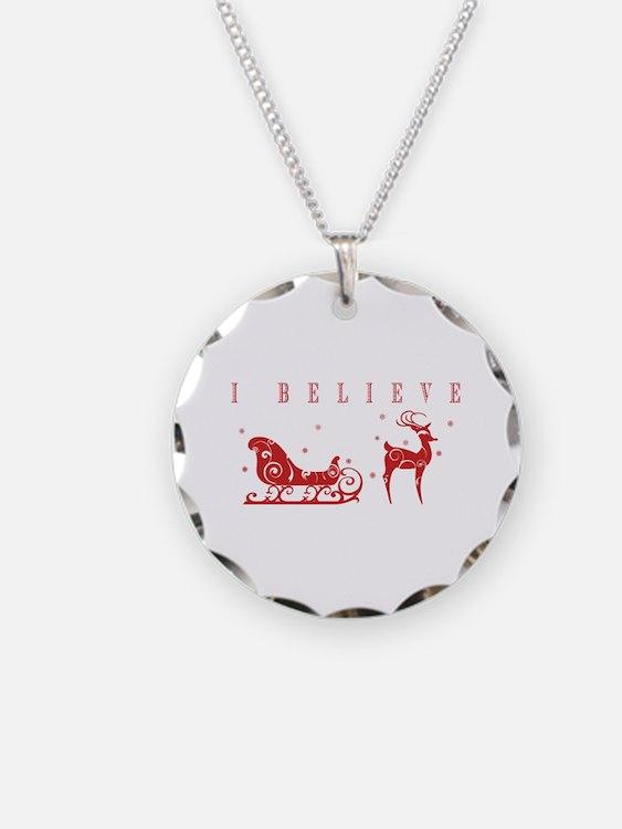 Cute Santa claus Necklace Circle Charm