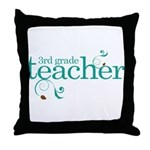 3rd Grade Teacher Swirl Throw Pillow